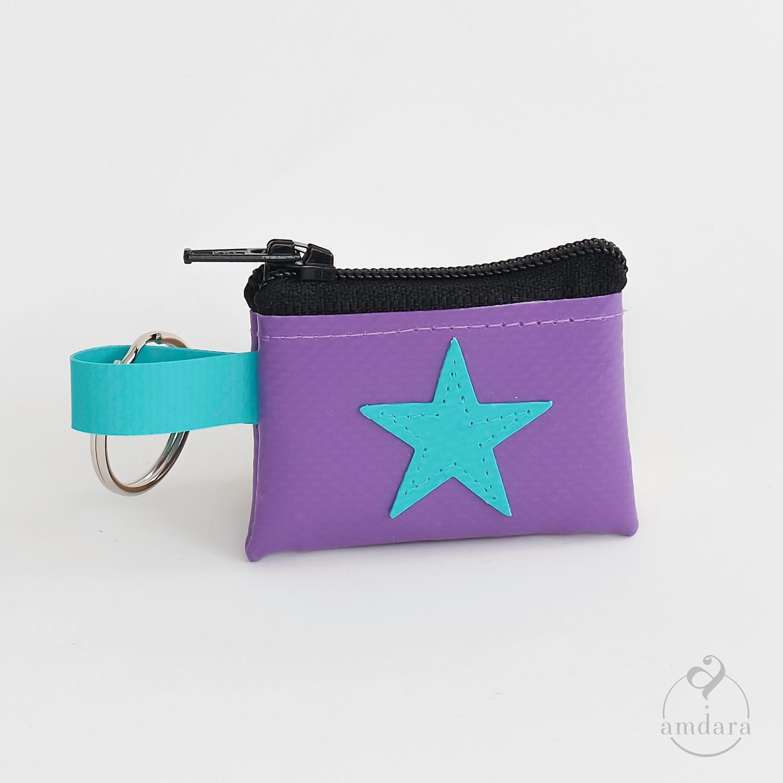 Münzanhänger mini, Mini Portmonee aus Blache, Stern türkis auf lila
