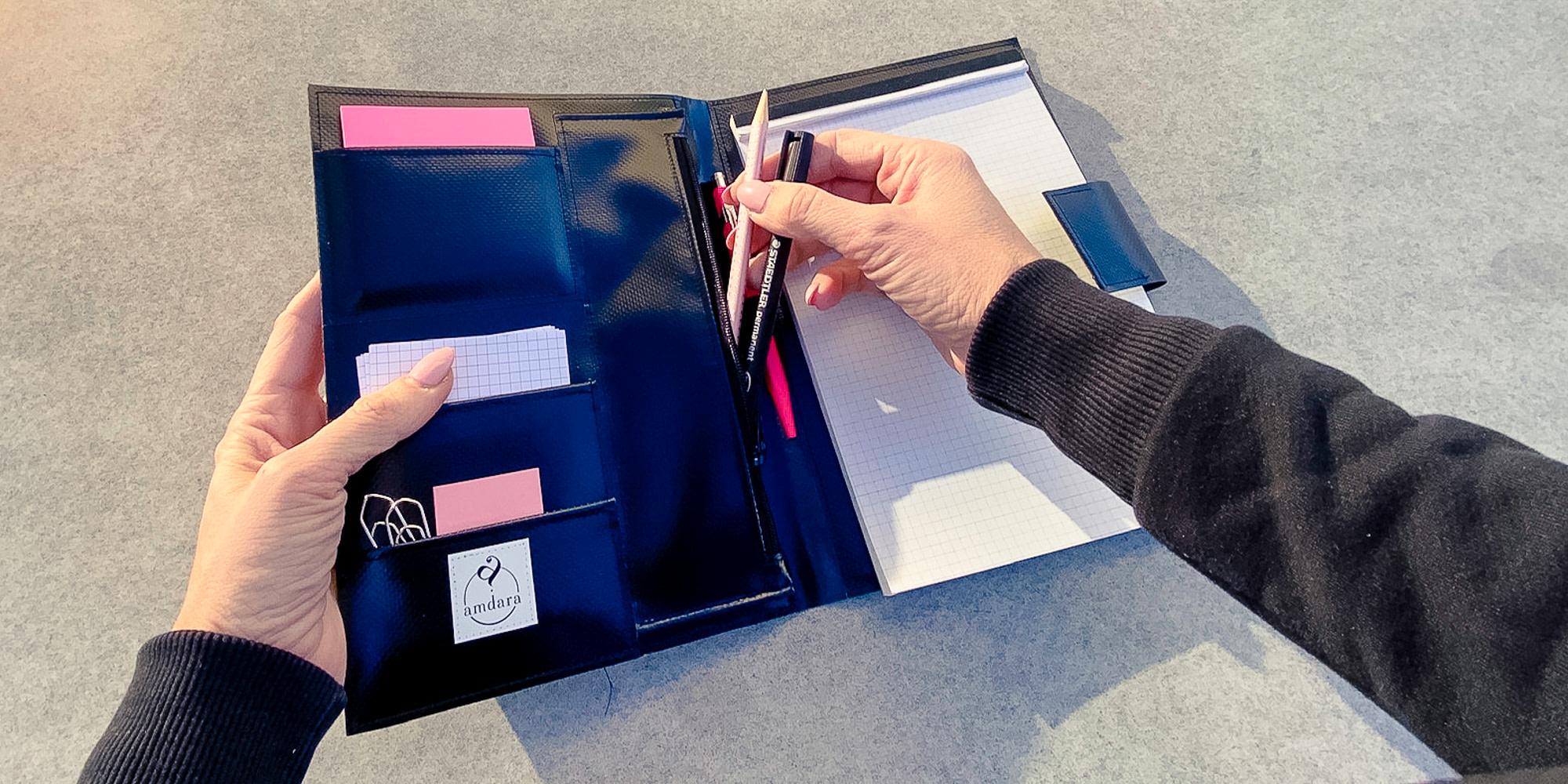 Schreibmappe, Arbeitsmappe, Notizblock A5 aus Blache