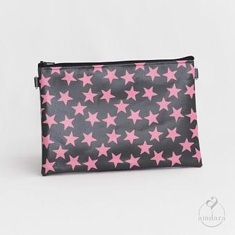 Tasche Anuya Sterne Print rosa auf dunkelgrau