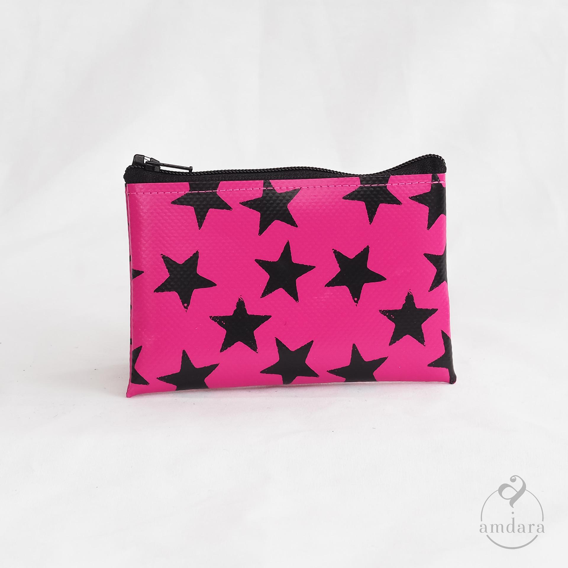 Täschchen Najuk S Sterne Print schwarz auf pink