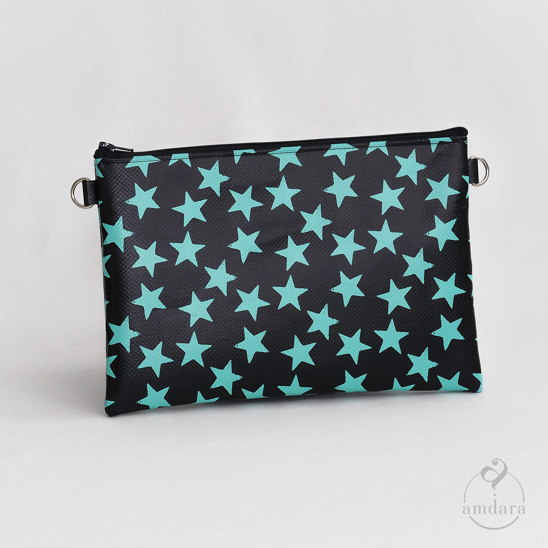 Tasche Anuya Sterne Print mint auf schwarz